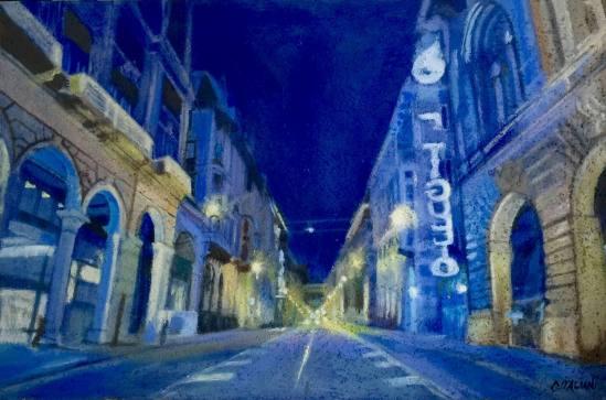 """""""A piedi per vi XX Settembre di Notte ,40 x 50 cm olio e sabbia su legno 2015"""