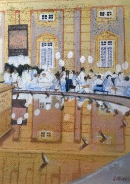"""""""Genova in Bianco""""Olio e sabbia su tela 50 x 90 cm 2015"""