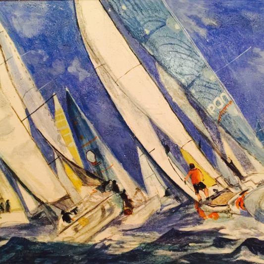 """""""In regata""""olio e acrilico su carta intelata 60 per 90 cm 2014"""
