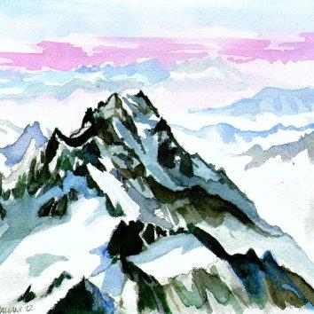 """""""Alba sul M.Bianco"""" Acquerello su carta 30 x 40 cm 2012"""