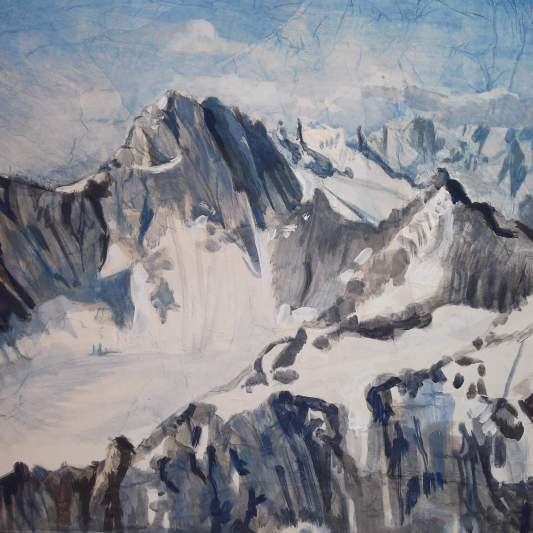 """""""Il Massiccio del M.Bianco""""Olio e carta applicata su tela 50 x 60 cm 2012"""