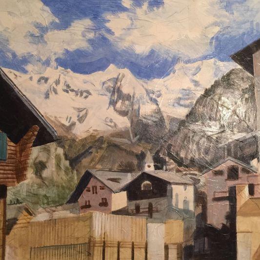 """""""In Paese"""" Olio su carta applicata su tela 80 x 120 cm anno 2012"""