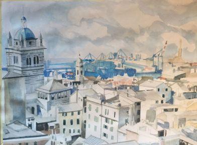"""""""Genova sui tetti """"Acquerello su carta Fabriano 30 x40 cm 2015"""