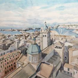 """""""Genova dall'alto""""Acquerello su carta Fabriano 30 x 40 cm 2015"""