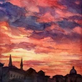 """""""Tramonto veneziano"""" ,acquerello su carta Fabriano 40 x 40 cm 2017"""