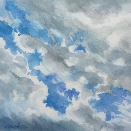 """""""Cielo """"Acquerello su carta Fabriano 40 x 40 cm 2017"""