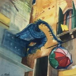 """""""Insegna del Negozio Marforio """" Acquerello su carta Fabriano 40 x 40 cm 2017"""