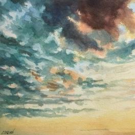 """""""Cielo I"""" Acquerello su carta Fabriano 40 x 40 cm"""