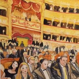 """""""Una Setra alla Fenice """"Acquerello su Carta Fabriano 40 x 40 cm 2017"""