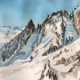 """""""partcolare della cresta Peterey del Monte Bianco """"acquerello su carta Arches 15 x 20 cm"""