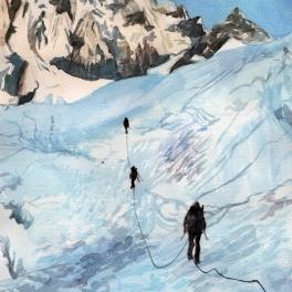 """""""Stiamo arrivando in cordata ,"""" acquerello su carta Arches 20 x 30 cm 2017"""