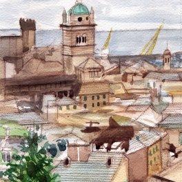 """""""I tetti di genova I """"- acquerello su carta Arches 20 x 30 cm 2017"""