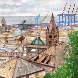 """""""I tetti di genova II""""- acquerello su carta Arches 20 x 30 cm 2017"""