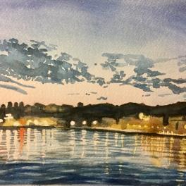 """""""tramonto sul Porto Antico""""20 x 19 cm acquerello su carta Fabriano"""