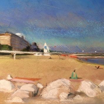 """""""Pomeriggio di sole sulla spiaggia dell'Excelsior""""Pastello su cartoncino, ovale 30 x 40 cm"""