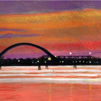 """""""Porto Marghera al tramonto """"Pastello su cartoncino ,ovale 30 x 40 cm"""