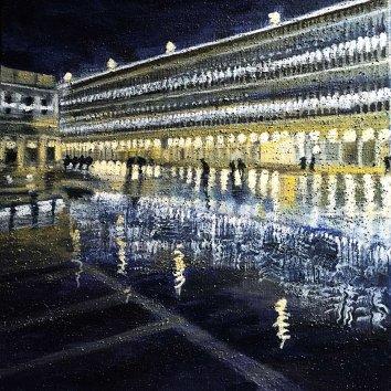 26 acqua alta in piazza San Marco notturno a pastello