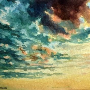 """""""Cielo"""" Acquerello su carta Fabriano 40 x 40 cm"""