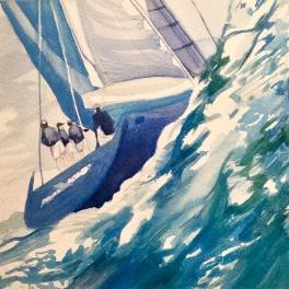 """""""In regata"""" Acquerello 30 x 30 cm ,2018"""