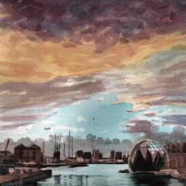 """""""Genova dopo la pioggia """" Acquerello 30 x 30 cm , 2018"""