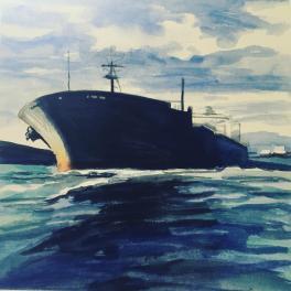 """""""La Nave"""" Acquerello 30 x 30 cm , 2018"""
