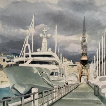 """""""Passeggiata al Molo Vecchio Durand """"Acquerello 30 x 30 cm ,2018"""
