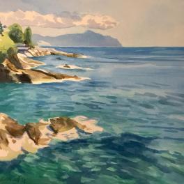 """""""Portofino visto dalla Passeggiata di Nervi """"Acquerello 30 x 30 cm ,2018"""
