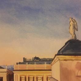 """""""Scende la sera su Piazza De Ferrari""""Acquerello 30 x 30 cm ,2018"""