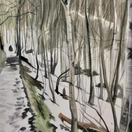 """Luigi nel Bosco ""Acquerello 30 x 30 cm 2018"