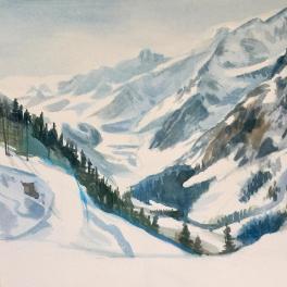 """""""Una giornata di sci in Val Veny""""Acquerello 30 x 30 cm ,2018"""