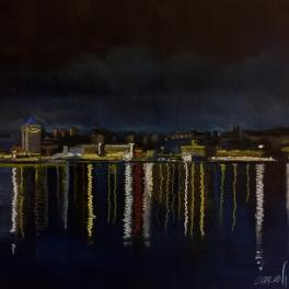 """""""Il Porto Antico di notte III"""" Pastello su cartoncino , 2018"""