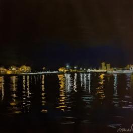"""""""Il Porto Antico di notte II""""Pastello su cartoncino , 2018"""