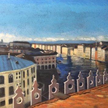 """""""Venezia vista dalla terrazza del Fondaco dei Tedeschi""""Olio su tela , 80 x 100 cm"""
