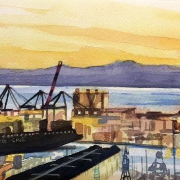 Porto di Genova veduta rettangolare 30 x 40 cm 2019