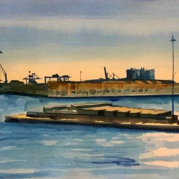 Veduta del Porto dal terminal traghetti 30 x 40 cm 2019